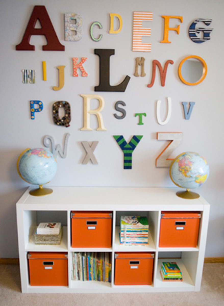 5 wall decorating ideas for the nursery momtrends alphabet wall in nursery amipublicfo Gallery