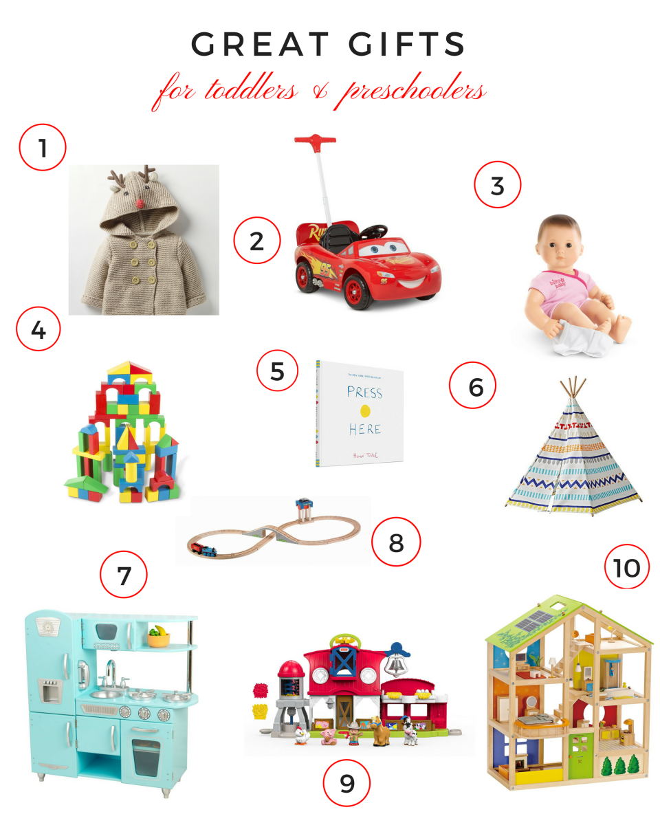 gifts for toddlers, gifts for preschoolers, gift guide, holiday guide, holiday gift guide, great gifts for toddlers and preschoolers, best gifts for toddlers and preschoolers, on trend gifts for toddlers and preschoolers, toddler gifts, preschool gifts