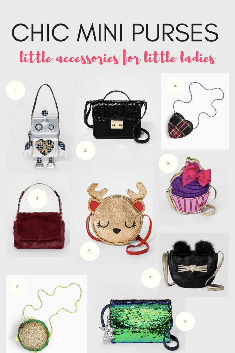 1. Robot Zip Satchel, $7 / 2. Top Handle Cross-Body Bag, $9/ 3. Heart Plaid Bag, $25/ 4. Red Faux Fur Satchel, $7/ 5. Reindeer Crossbody Bag, $7/ 6. Cupcake Crossbody Bag, $9/ 7. Cat Flap Crossbody Bag, $7/ 8. Glitter Hamburger Bag, $50/ 9. Navy and Green Sequin Cross Body, $7