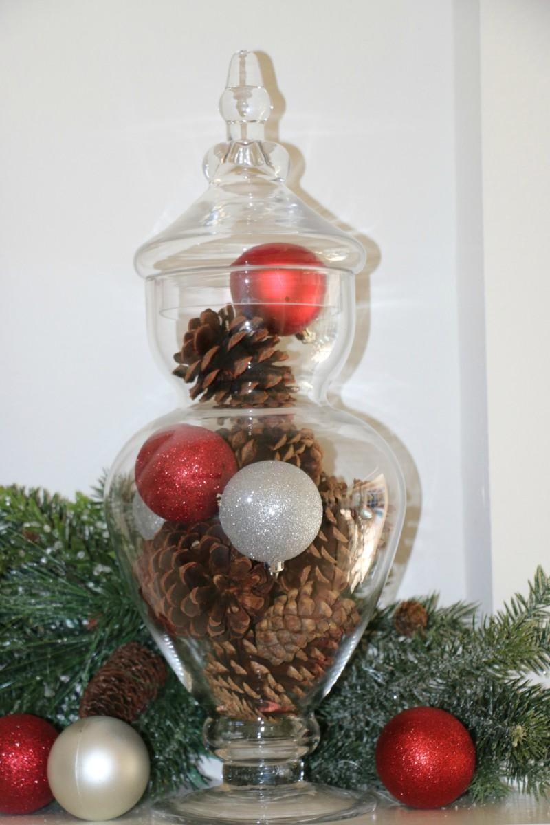 apothecary jar holiday centerpiece