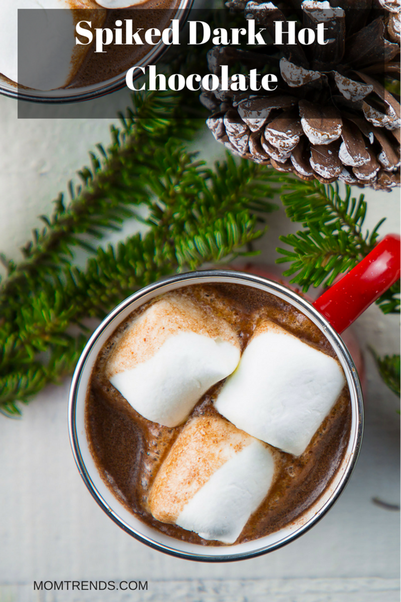Spiked Dark Hot Chocolate in a mug with evergreen branches