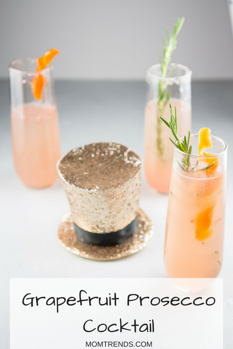 Grapefruit Prosecco Cocktails with top hat