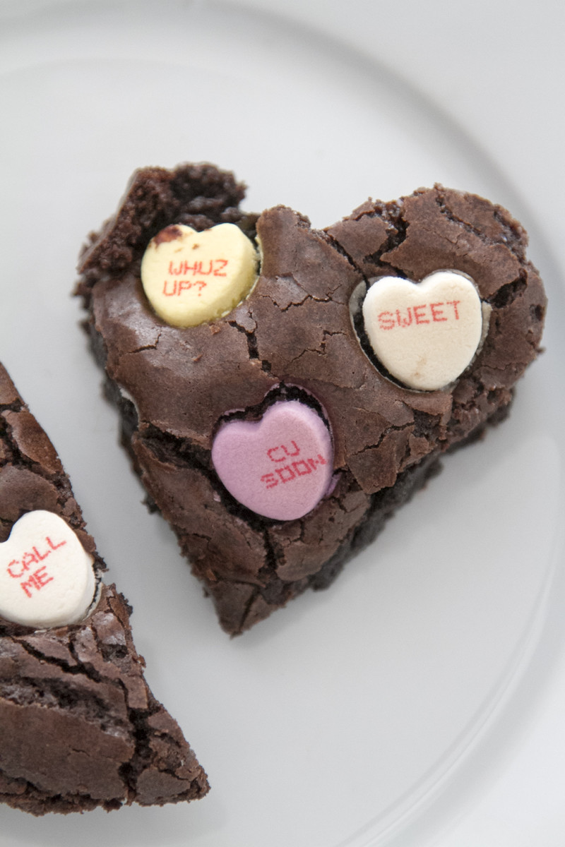 conversation heart brownies Valentine's Day treat