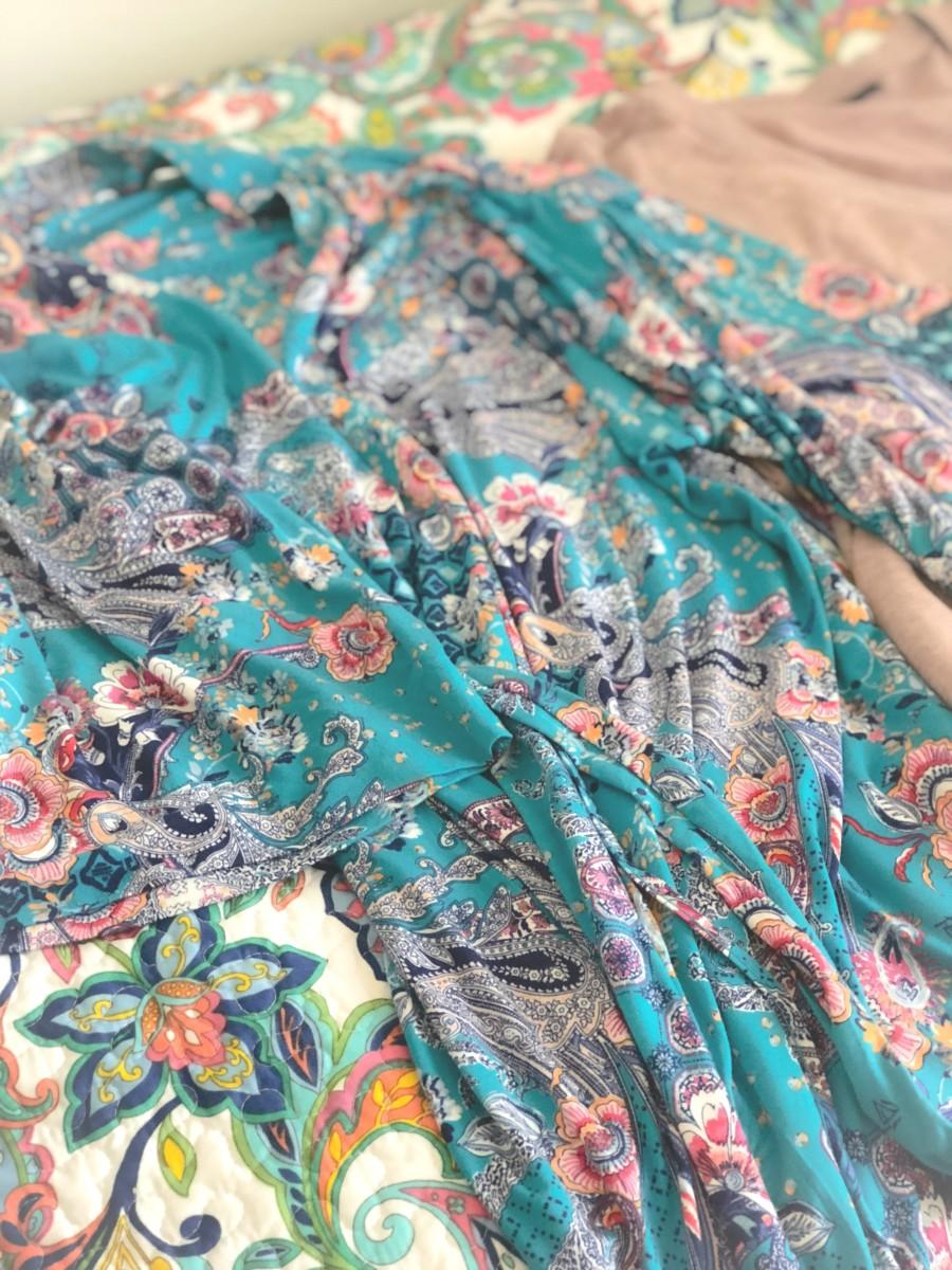 lightweight print robe on bed