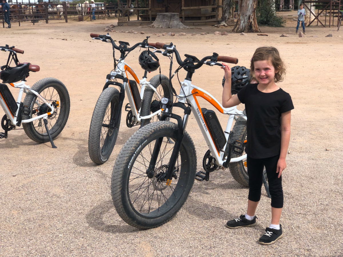 e-bikes and little girl