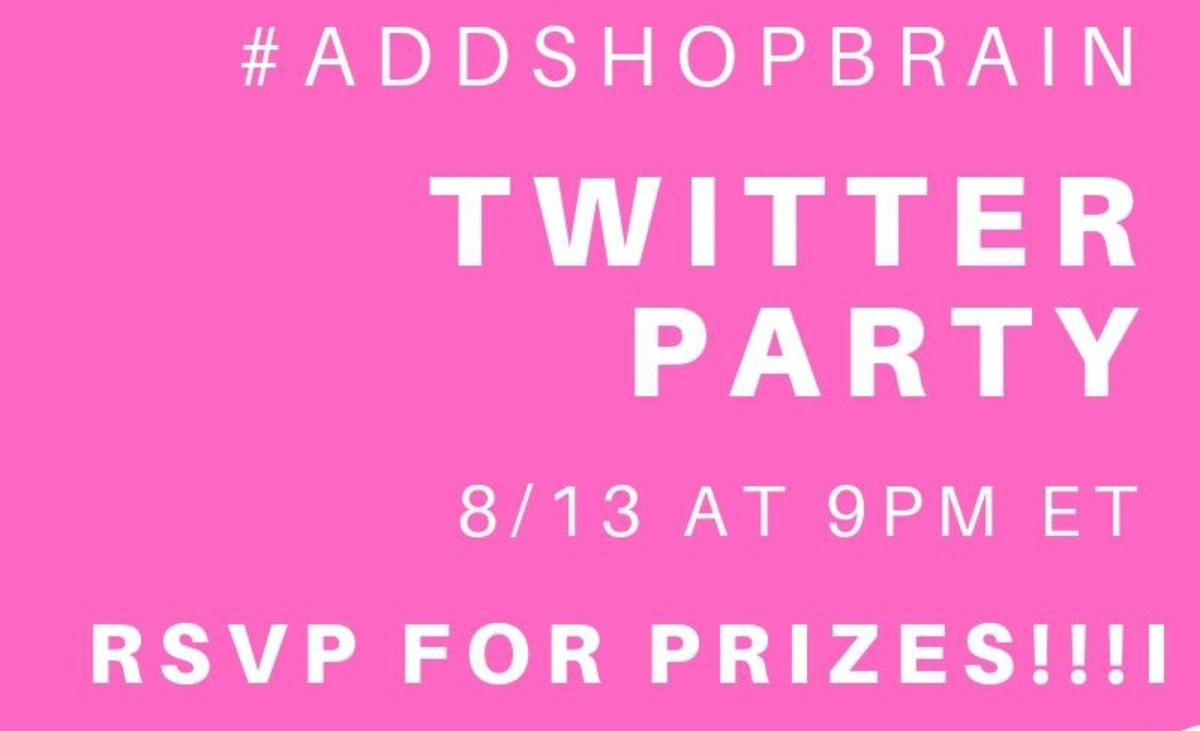 shopbrain twitter party details - #addshopbrain on 8/13 at 9pm et