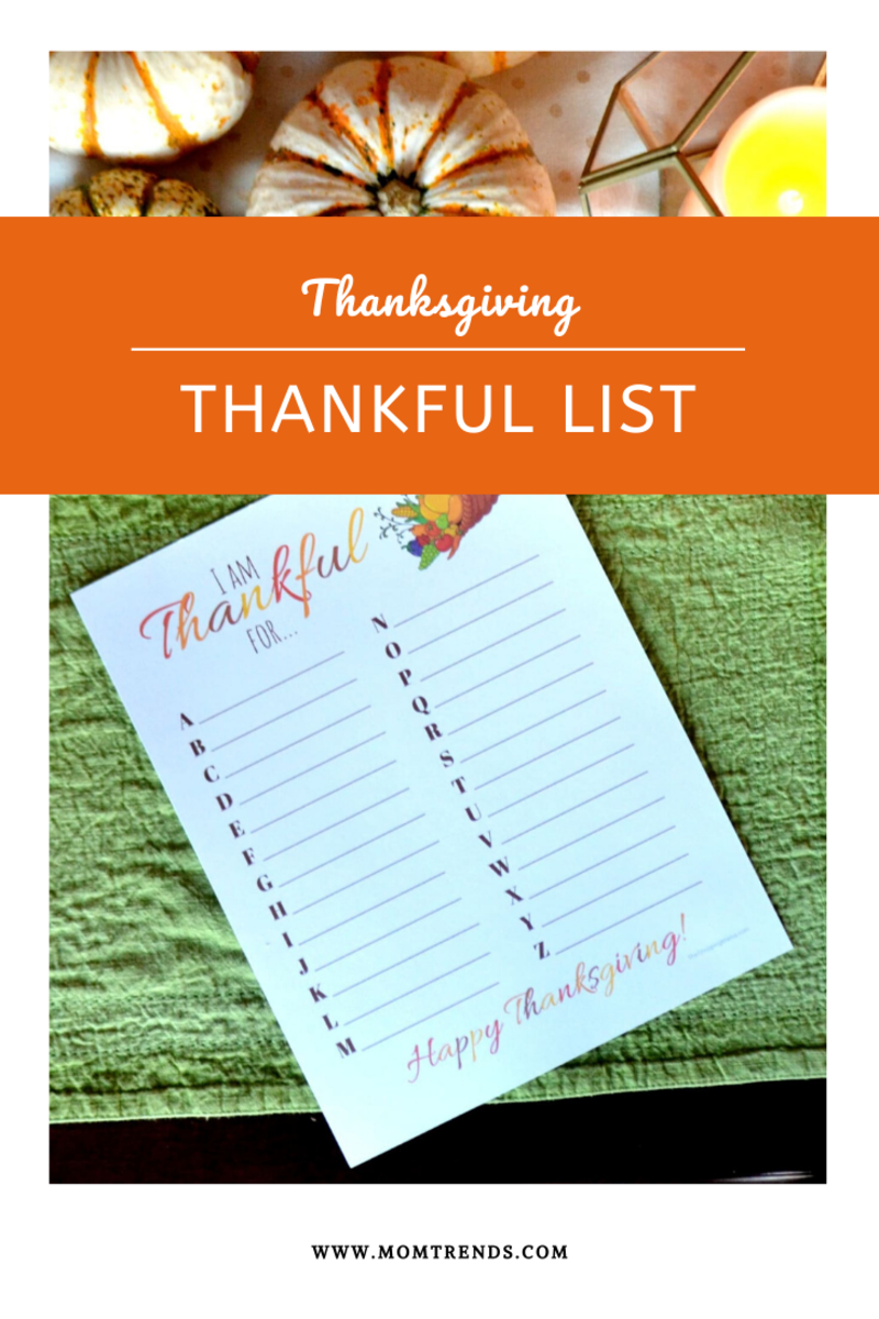 Thanksgiving ABC Printable