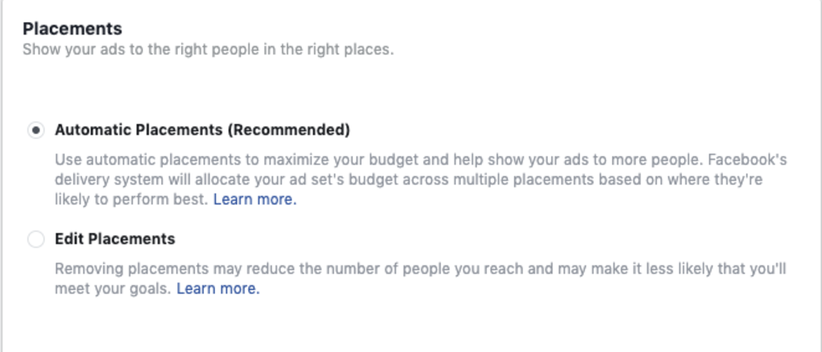 Facebook ads for instagram