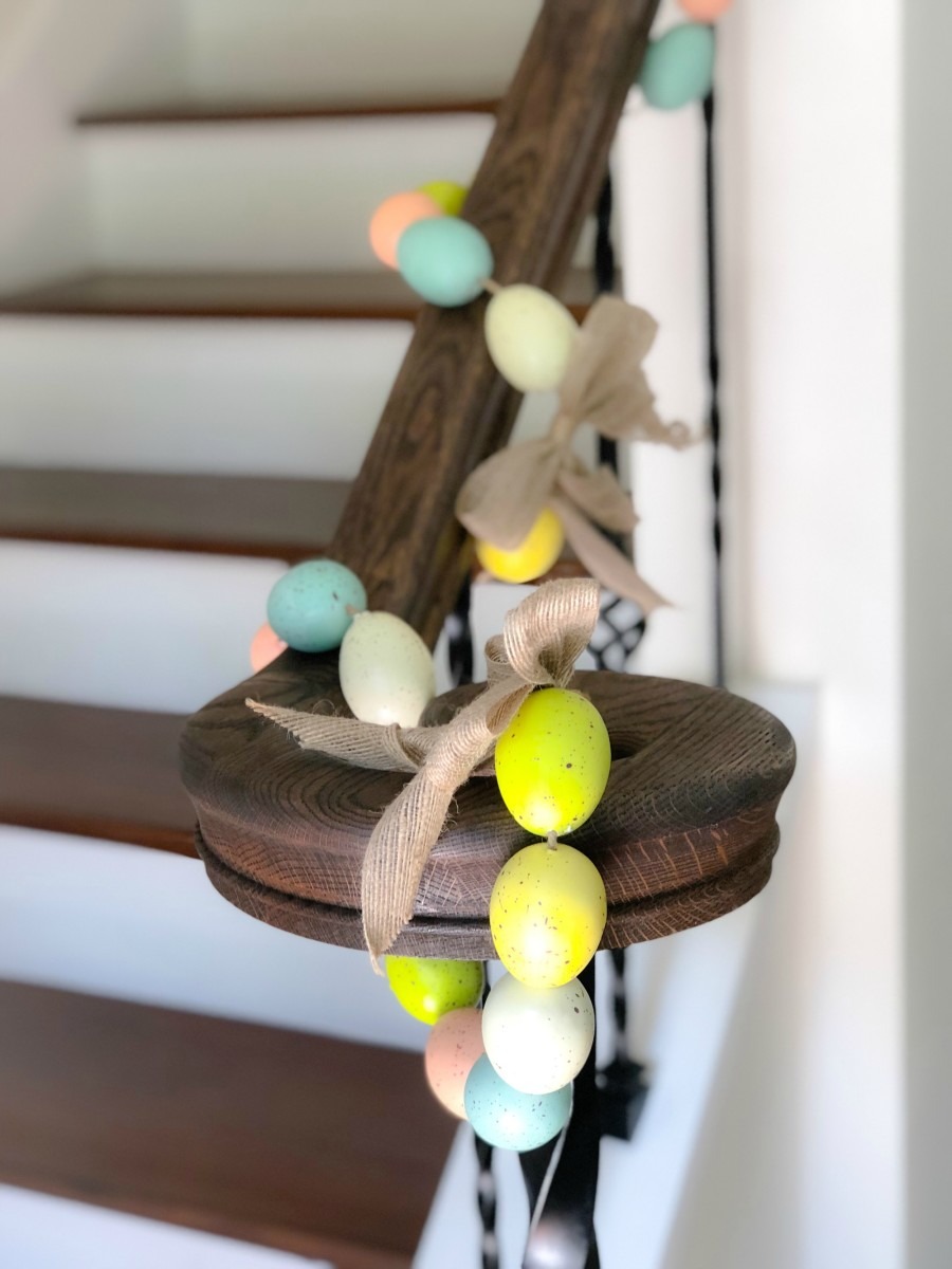 Easter egg garland hanging on banister