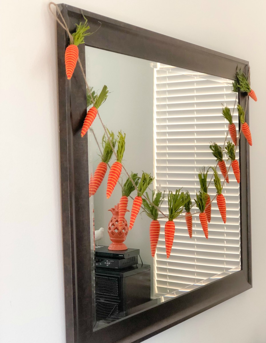 rabbit bunting hanging on a mirror