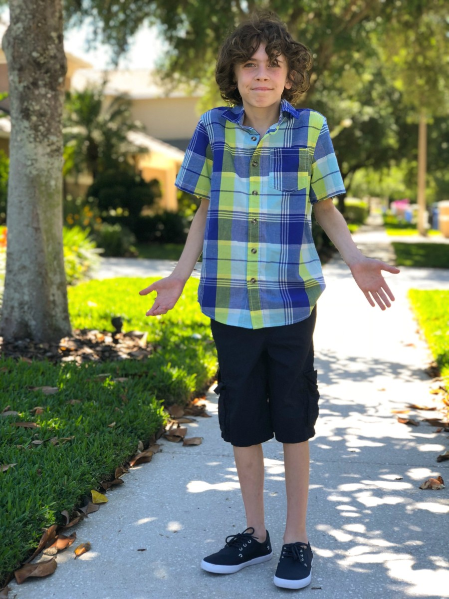 spring shorts outfit on young boy