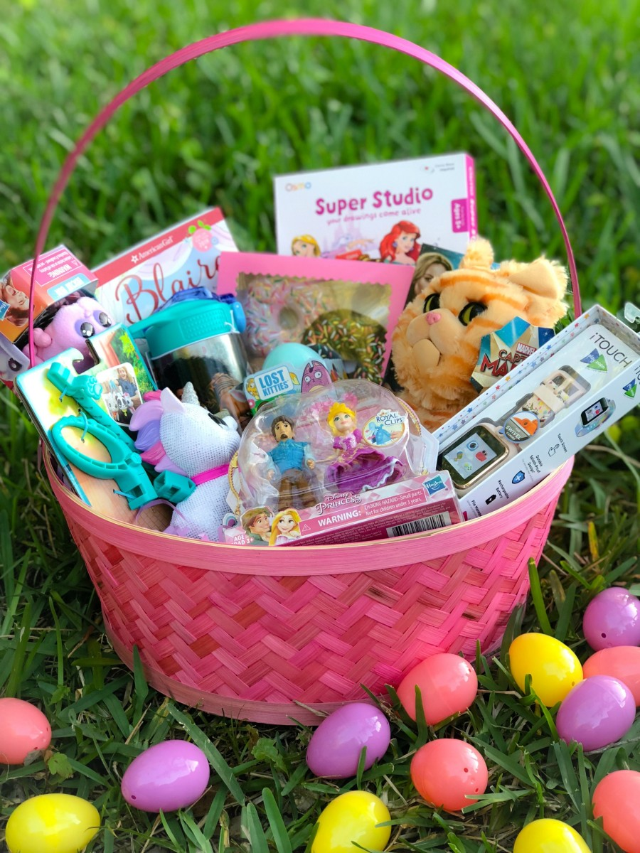 girl easter basket filled with non candy easter basket fillers