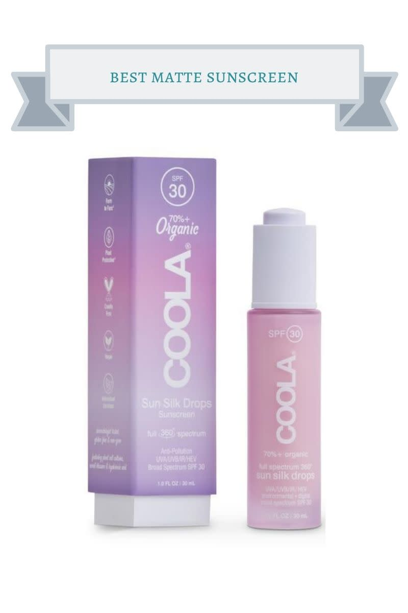 pink bottle of Coola full spectrum 360 sun sink drops and pinkand purple box next to it