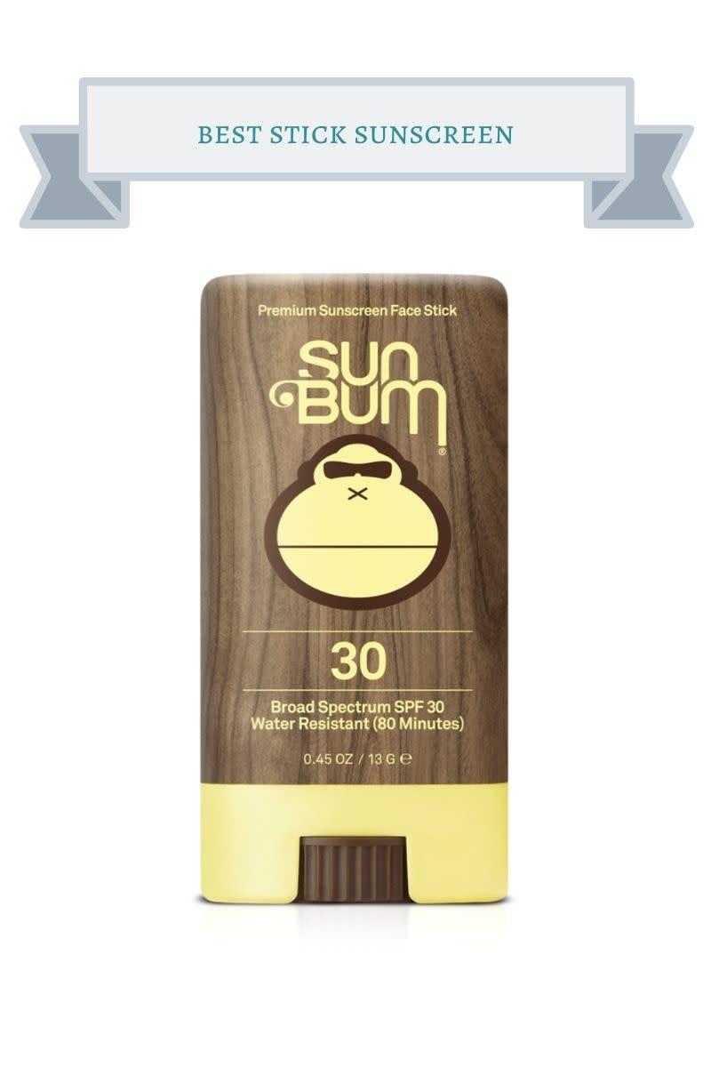brown and yellow Sun Bum sunscreen stick