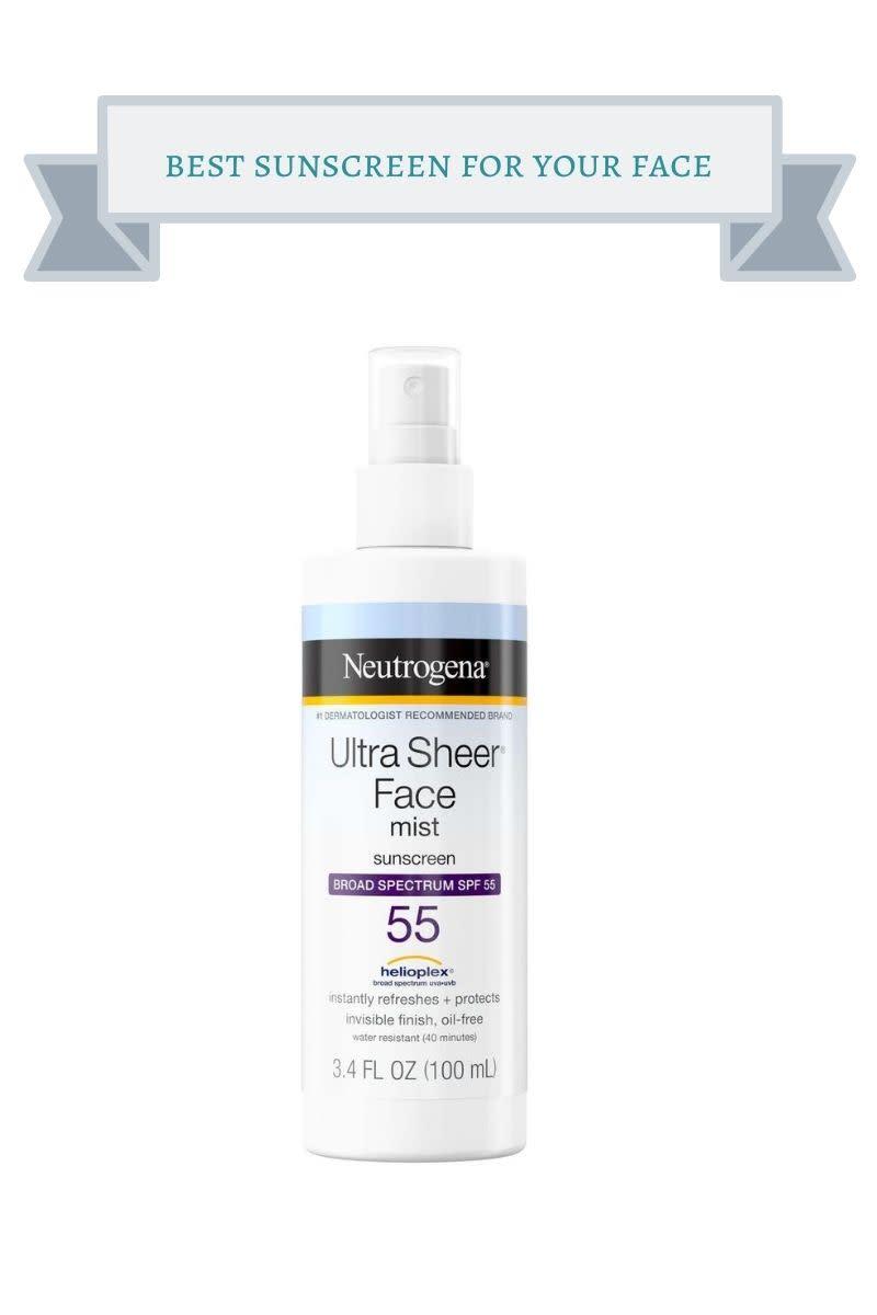 white bottle of Neutrogena Ultra Sheer Face Mist Sunscreen with SPF 55