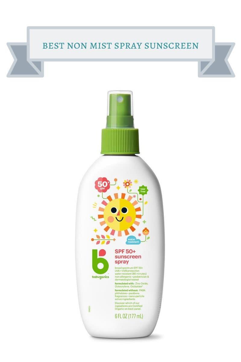 white bottle with green lid of Babyganics SPF 50+ sunscreen spray