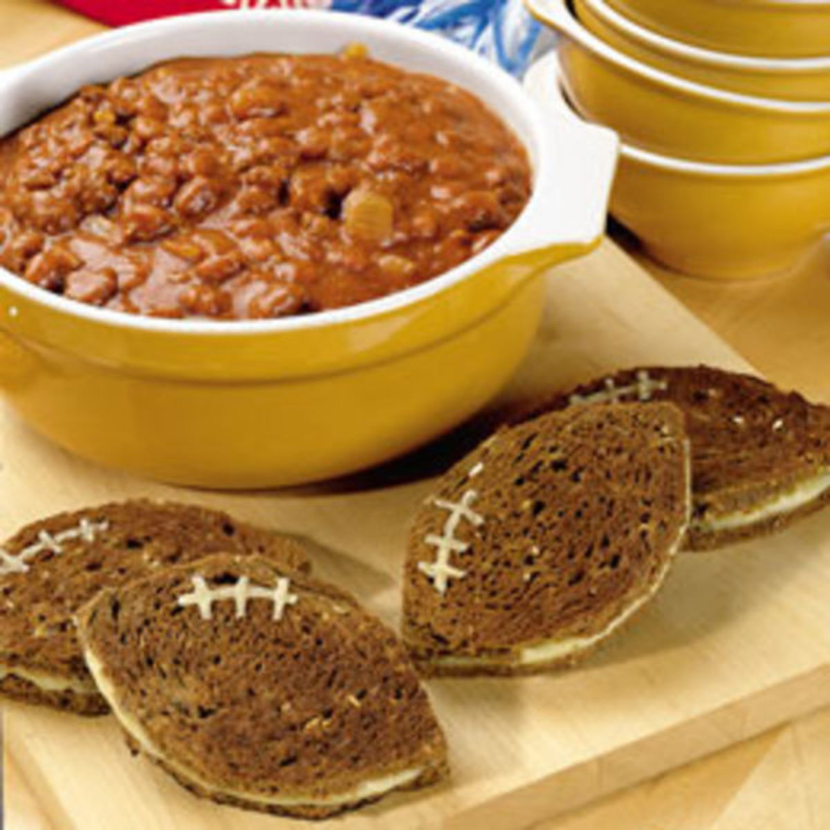 Pumpkin Chili and Football Grilled Cheese
