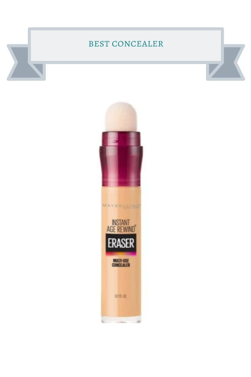 clear and majenta concealer bottle with white sponge top