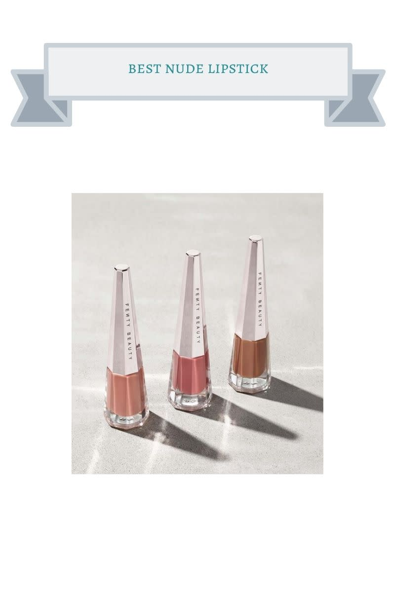 three clear bottles with silver tops and nude shades of lipstick