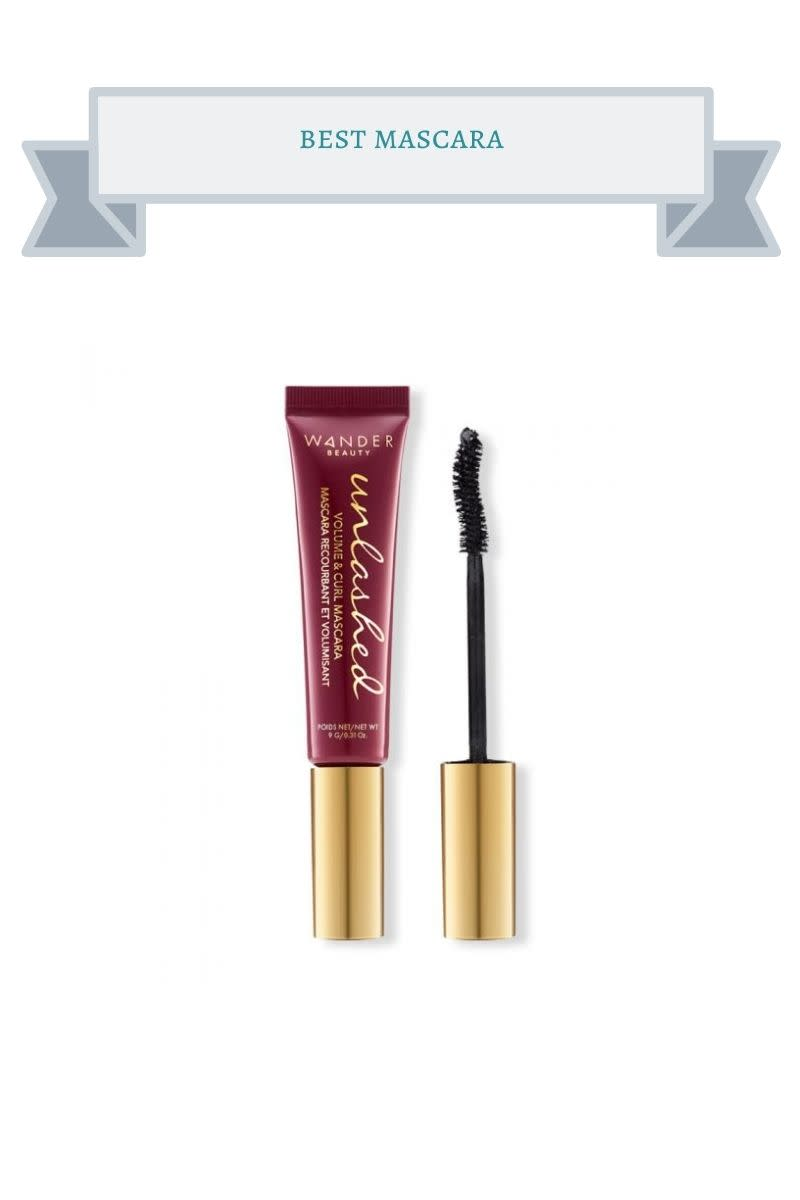 dark pink tube of mascara with gold top
