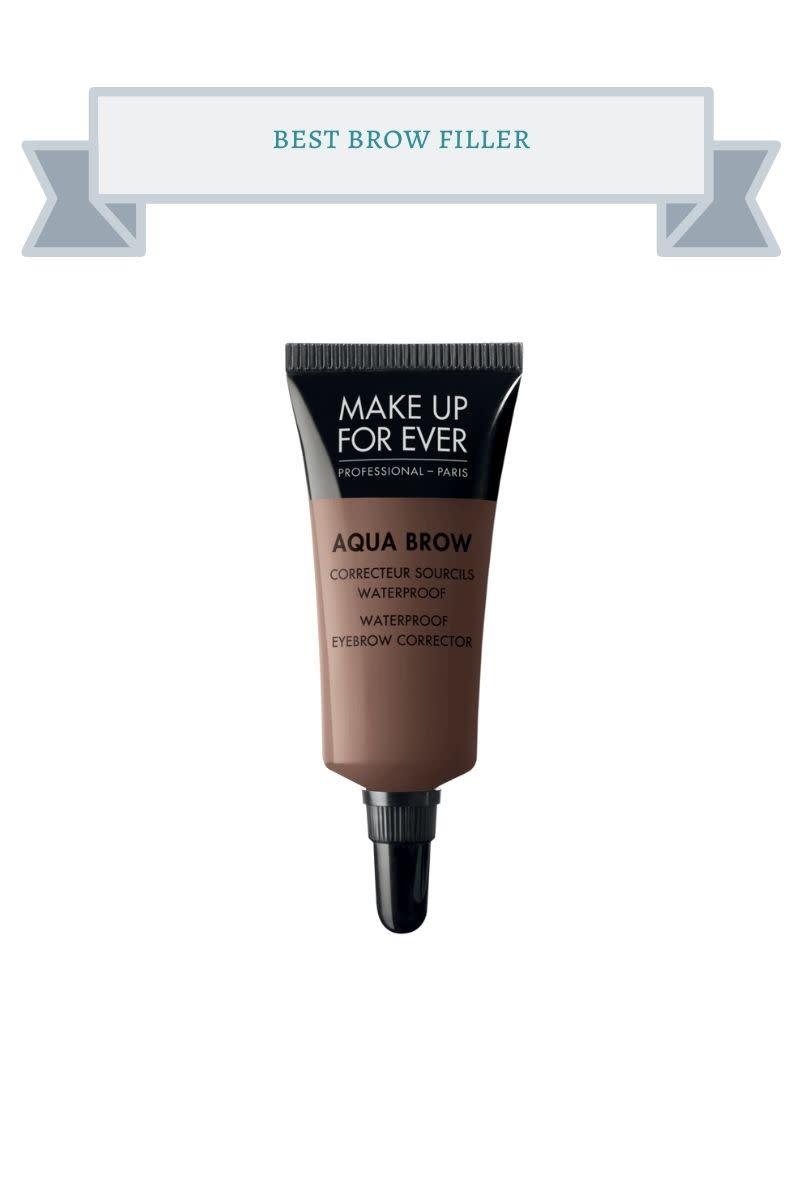 brown and black tube of makeup forever aqua brow filler