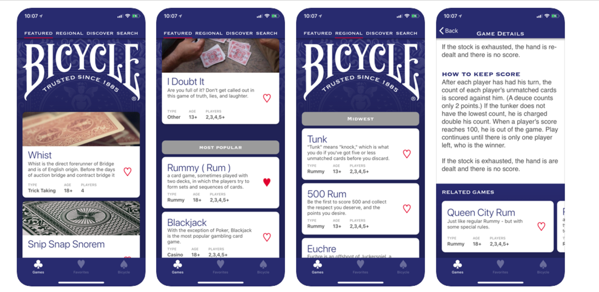 Features of the Bicycle Card App