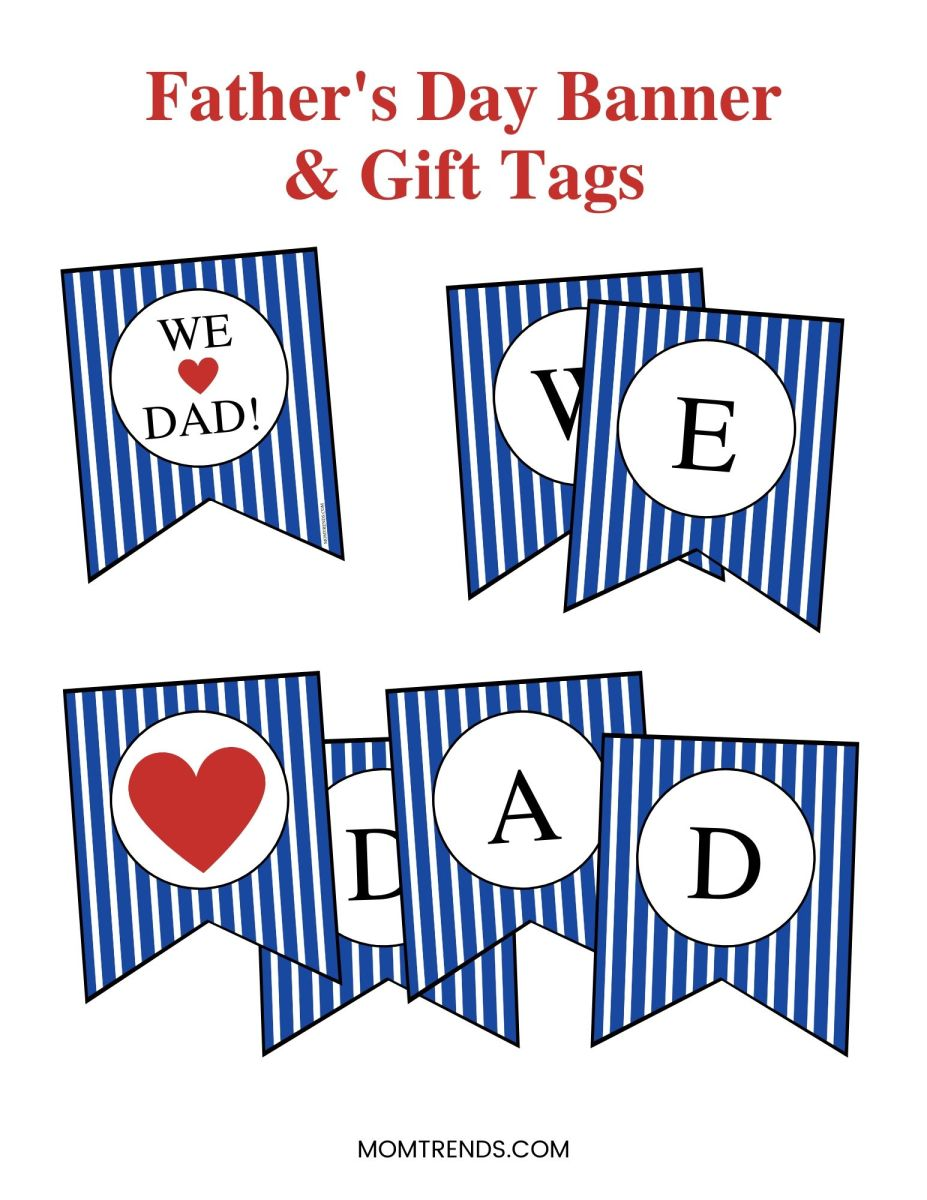 Father's Day Printable Banner and Tags