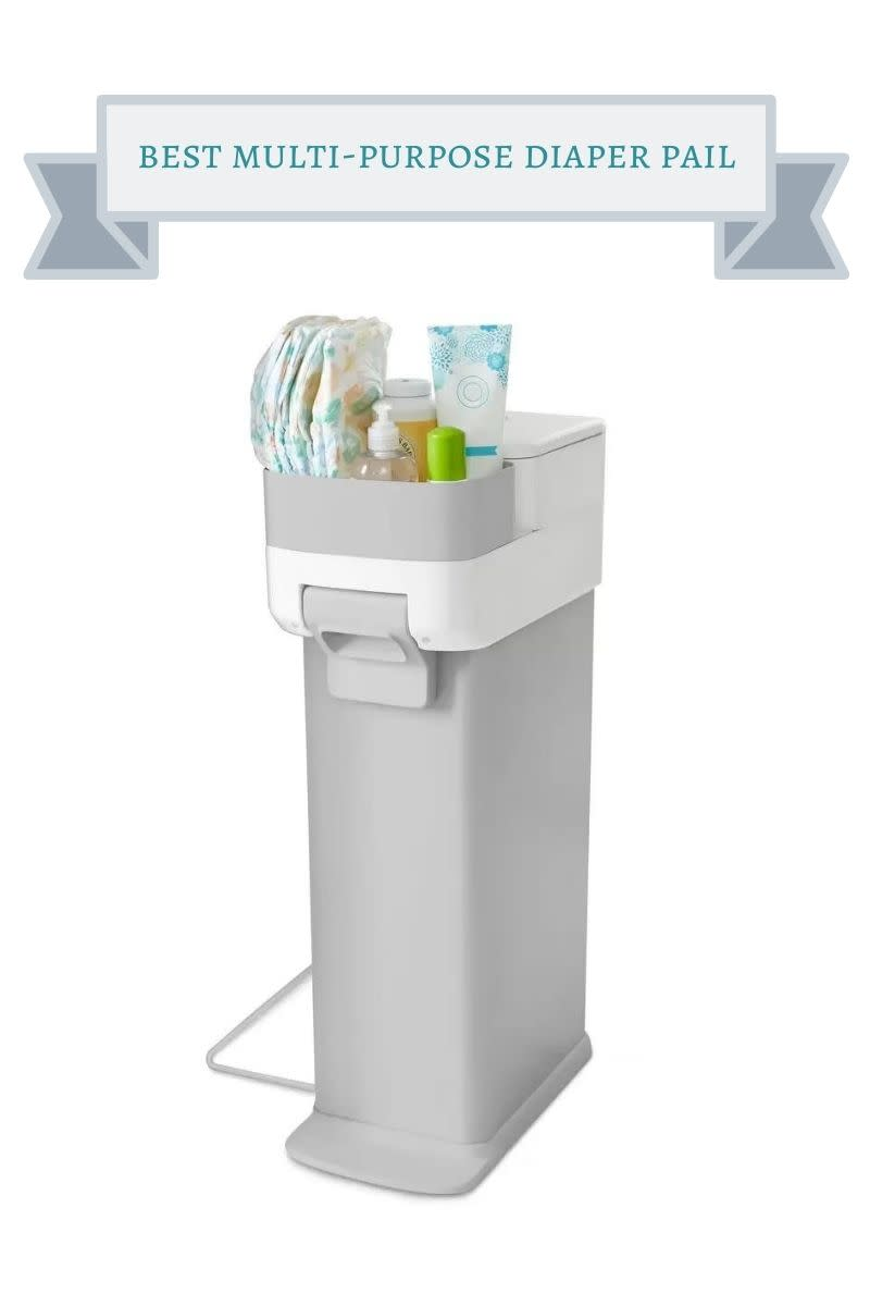 gray diaper pail with storage for diapers and accessories on top