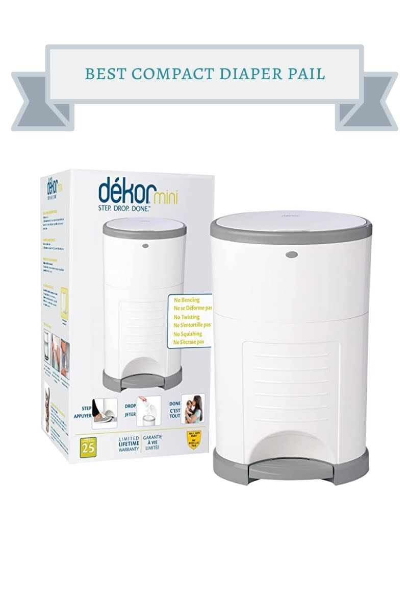 white and gray mini diaper pail next to white dekor mini box