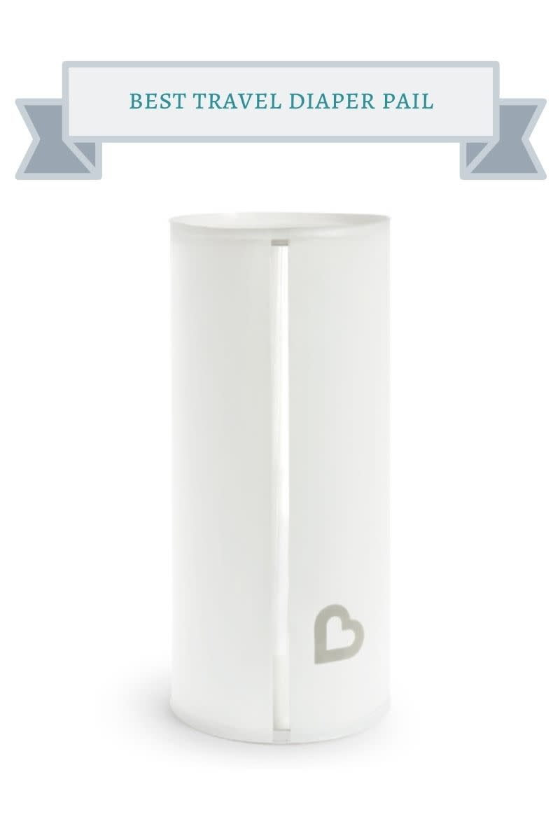 white diaper pail with gray heart on it