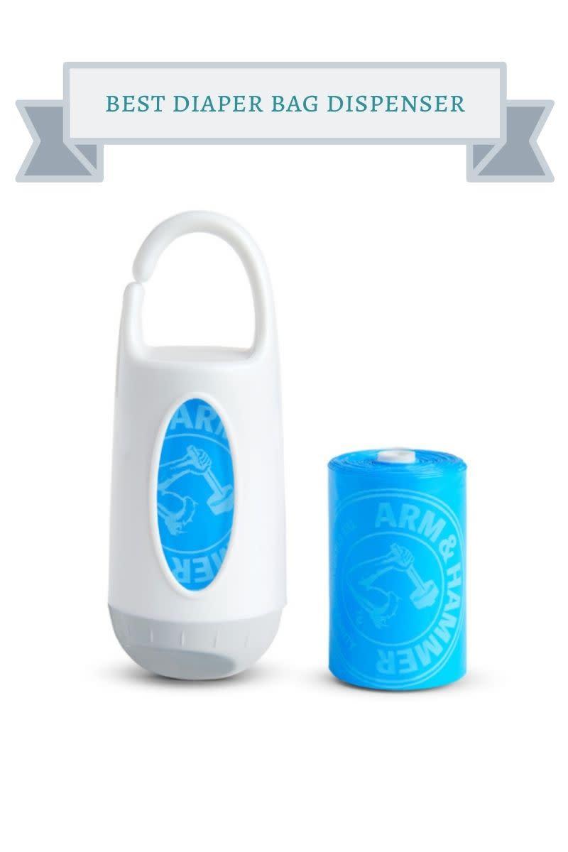 white and blue diaper bag dispenser