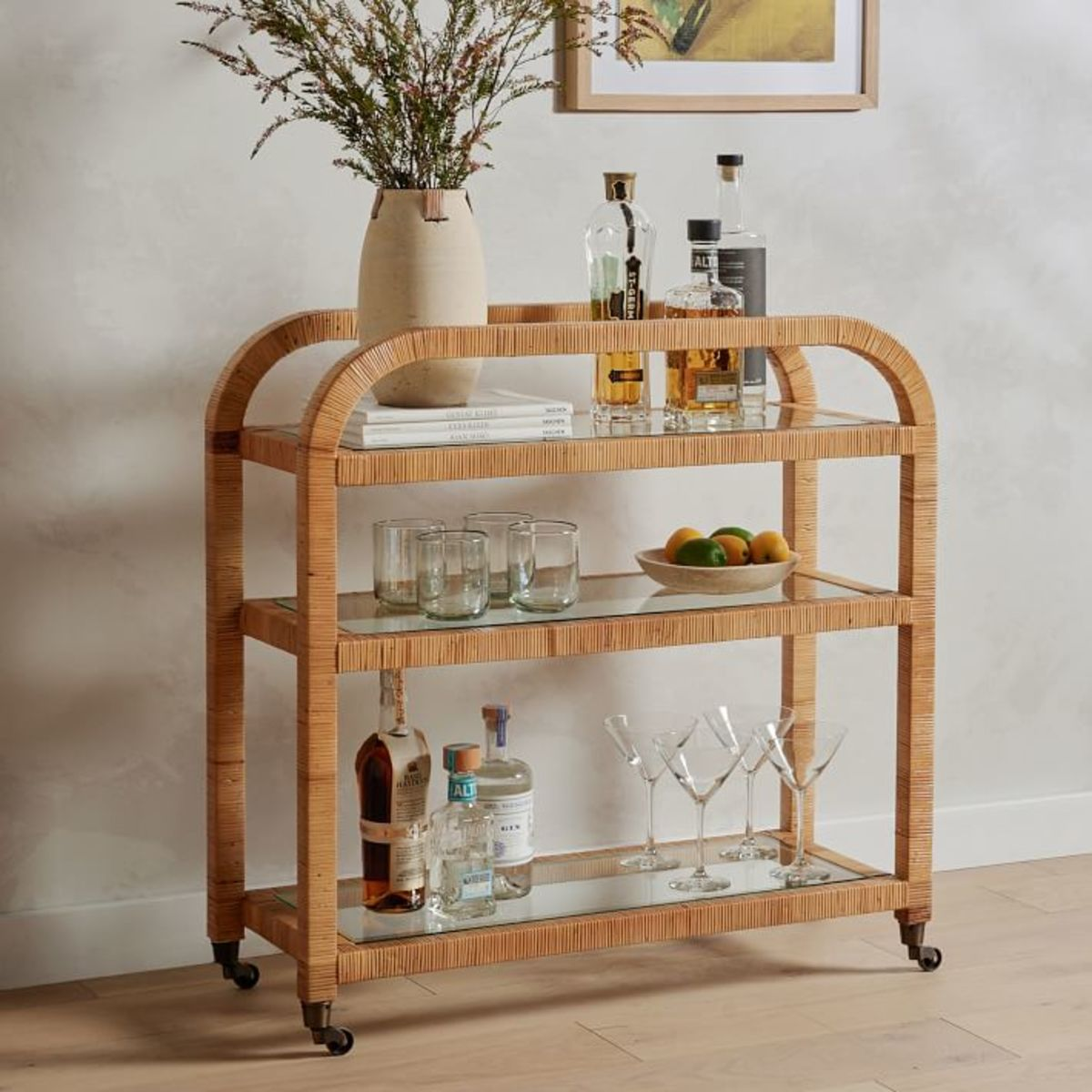 Rounded Wood Bar Cart