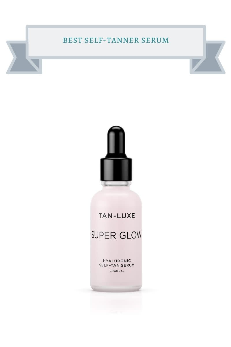 pink bottle of self tanner serum with black lid