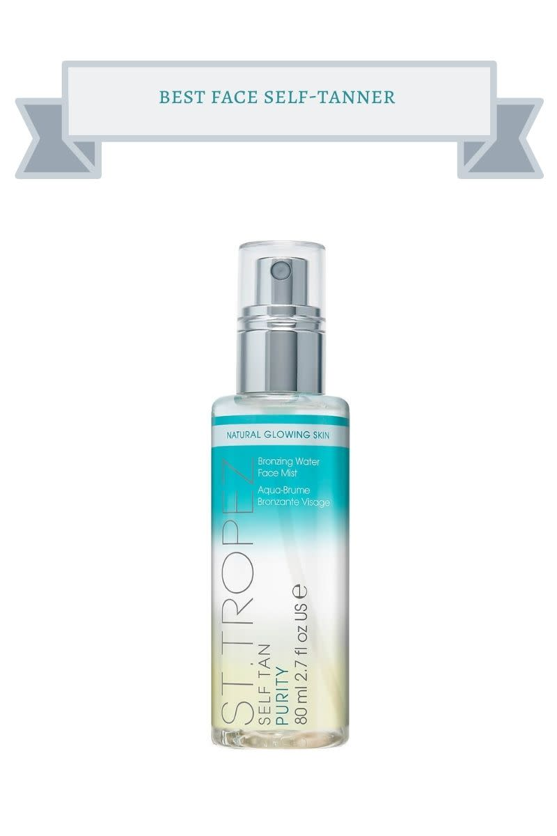clear and turquoise bottle of self-tanner