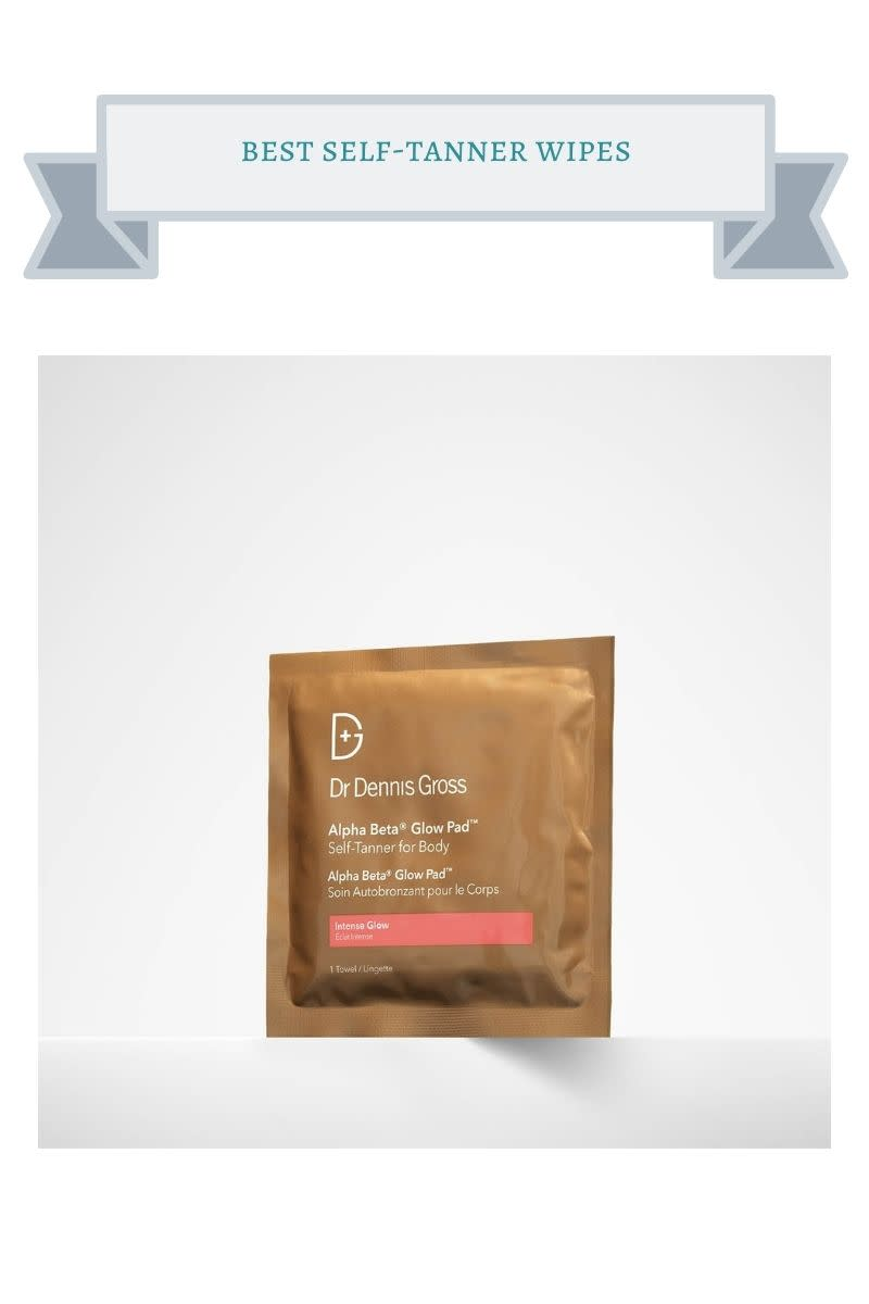 brown packet of self-tanner towelette