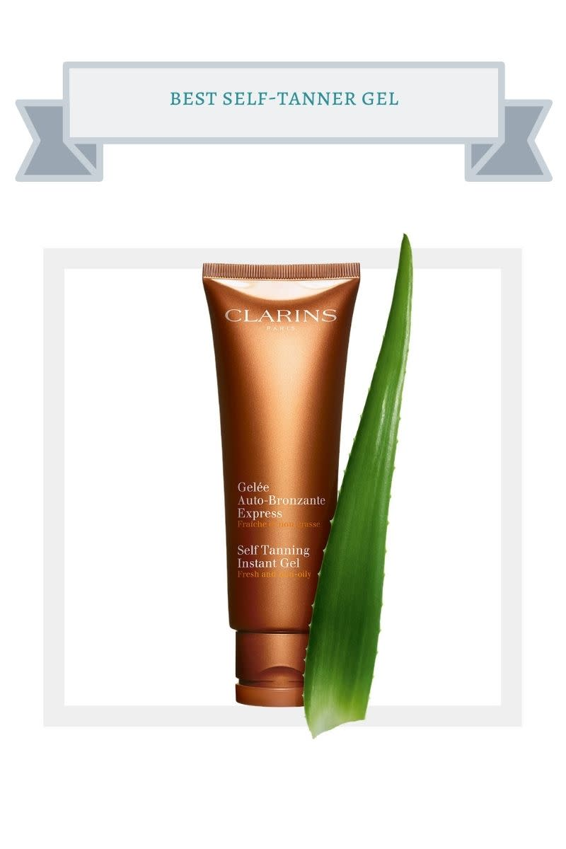 brown bottle of self-tanner gel next to aloe leaf