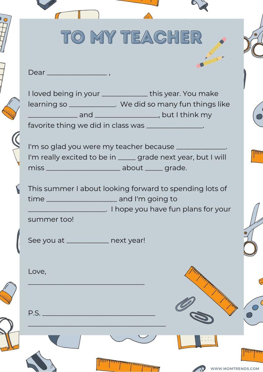 MomTrends Teacher Thank You Note