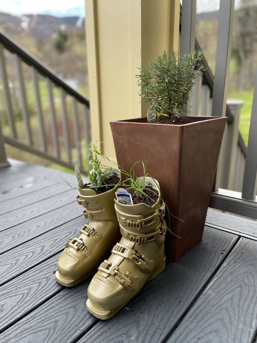 Recycle Your Old Ski Boots into Garden Planters