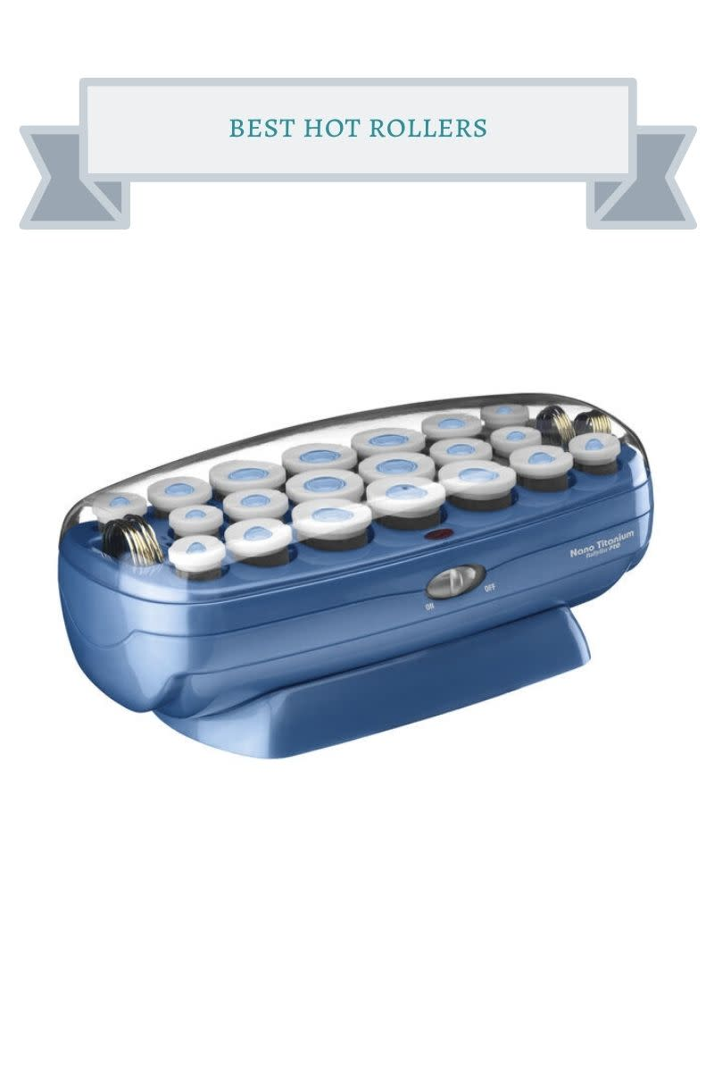 blue and white hot rollers set