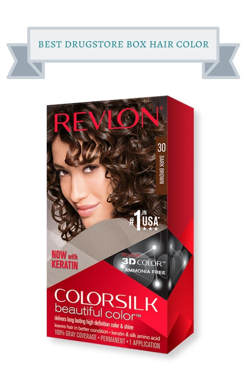 red box of revlon colorsilk hair color with curly haired brunette on it