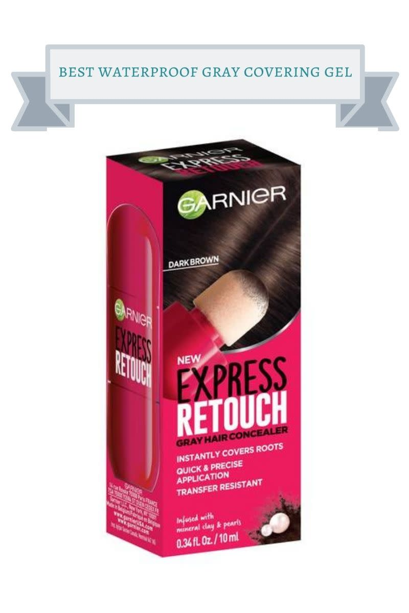 pink box of garnier express retouch with brown hair