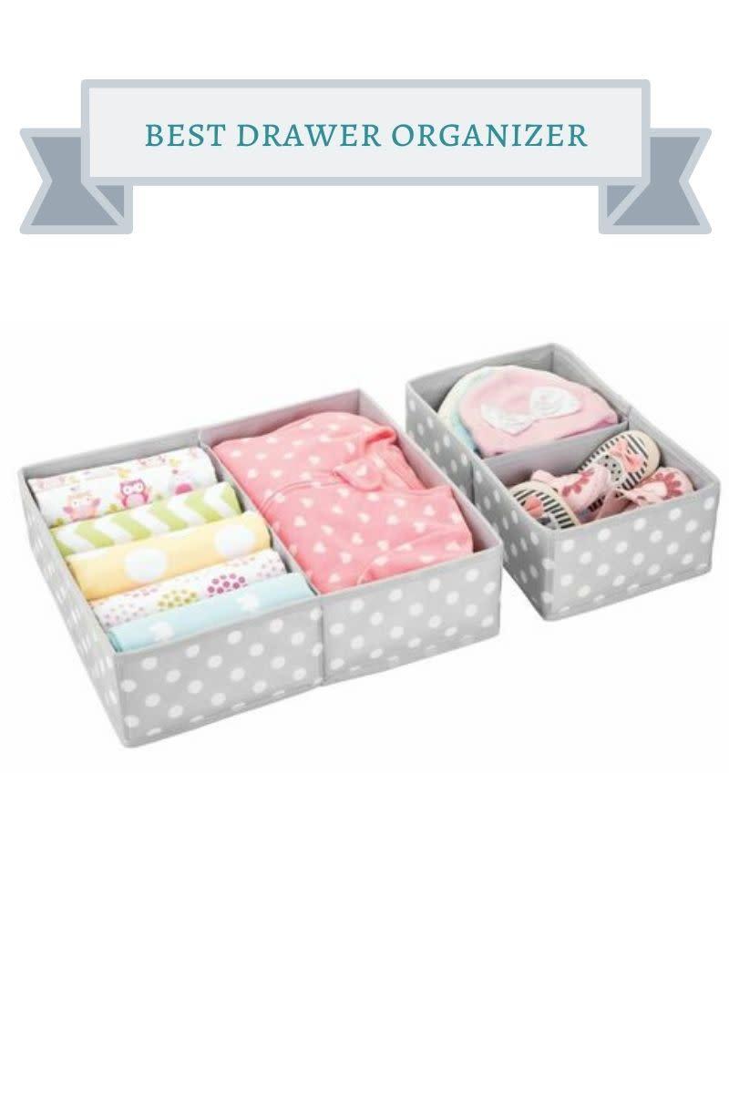 gray and white polka dot drawer organizer