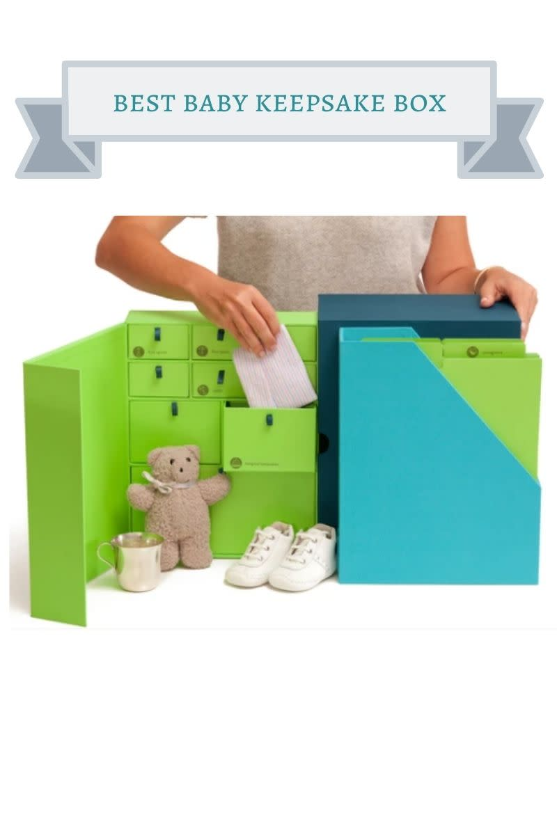 green and blue baby keepsake box
