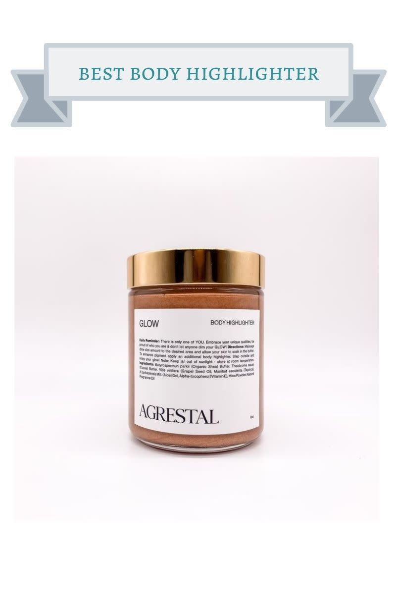 brown jar of agrestal body highlighter cream