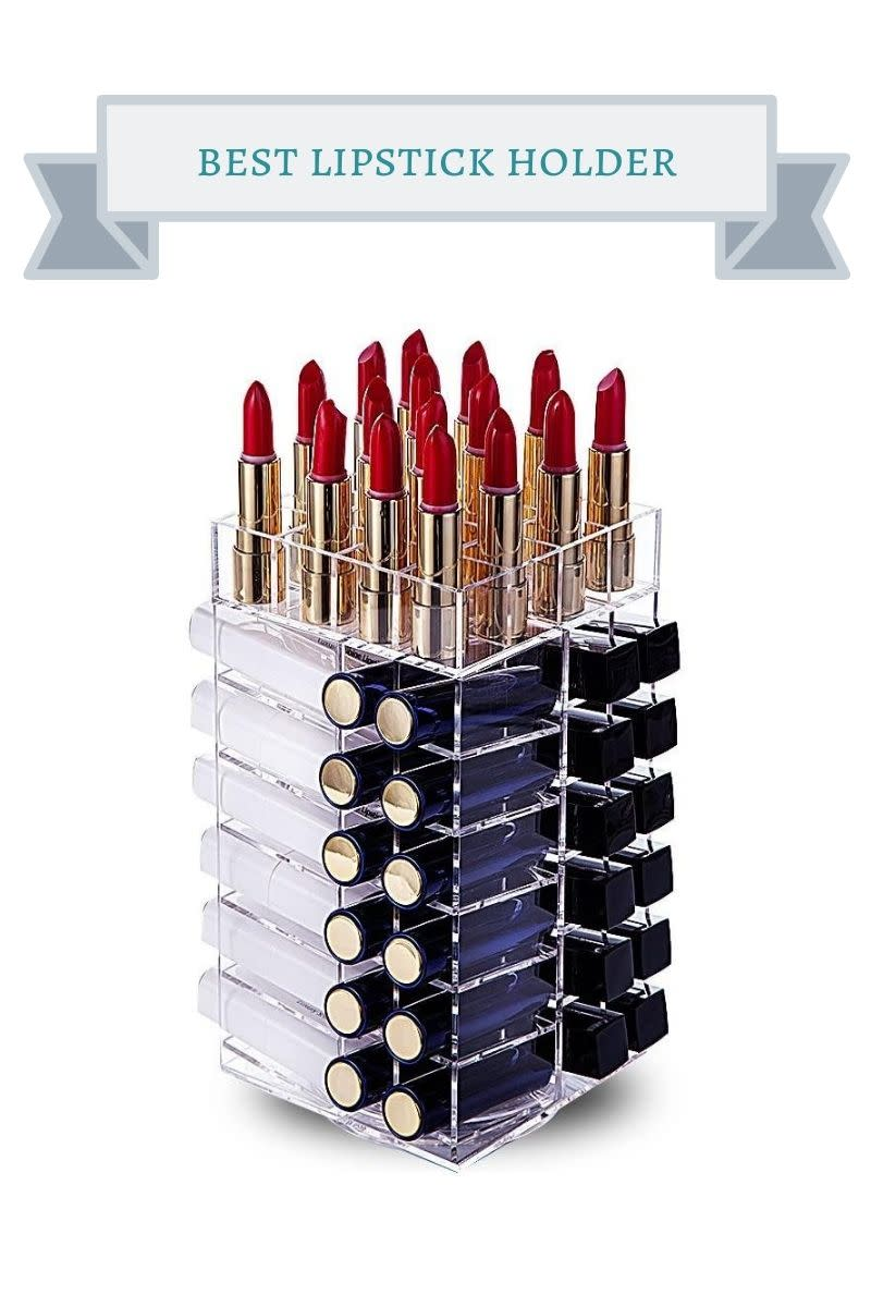 acrylic lipstick holder with black and gold tubes of red lipstick