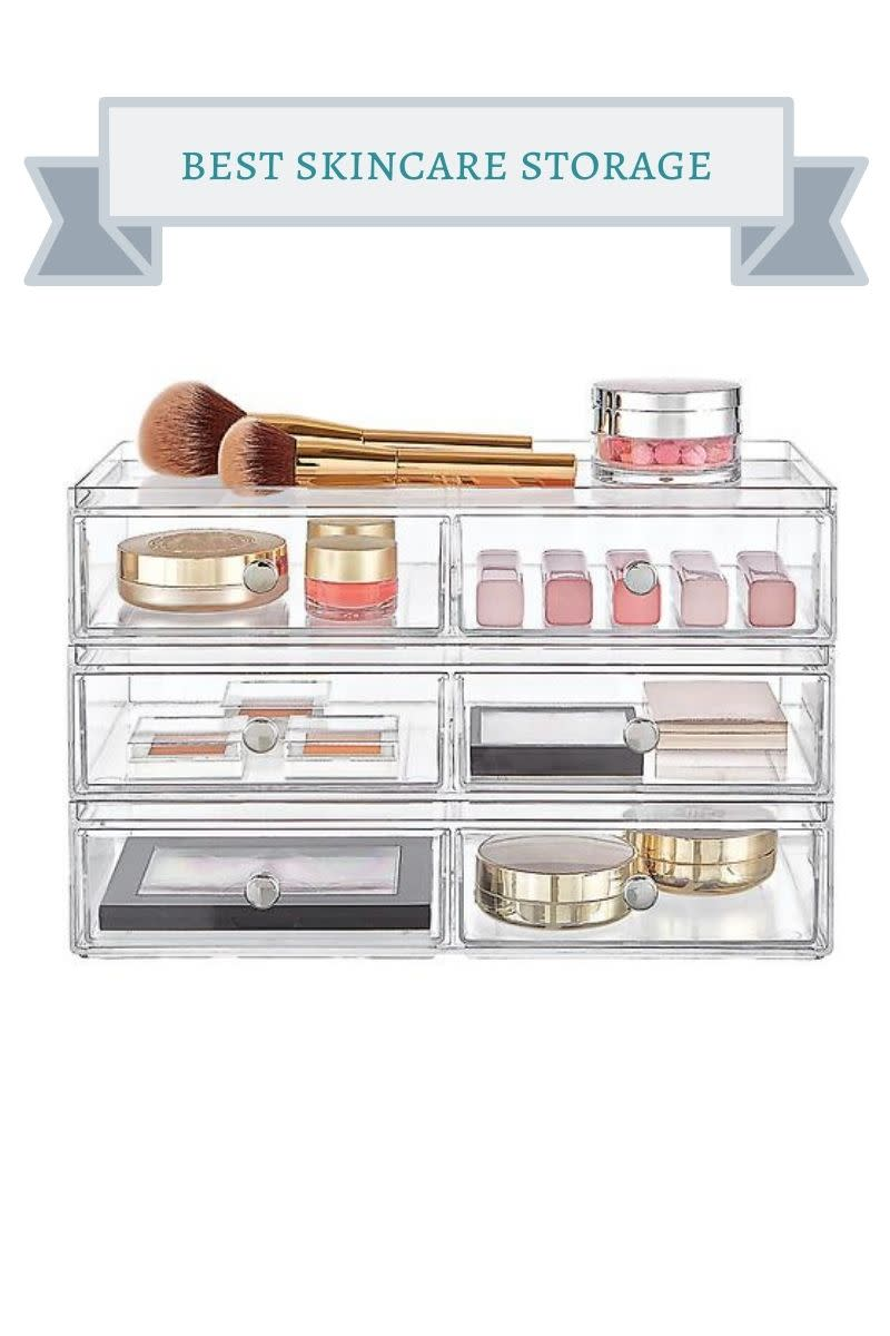 acrylic drawers with beauty products in them