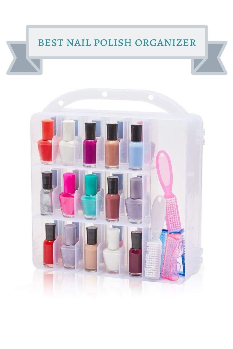 plastic nail polish case filled with multi-colored nail polishes