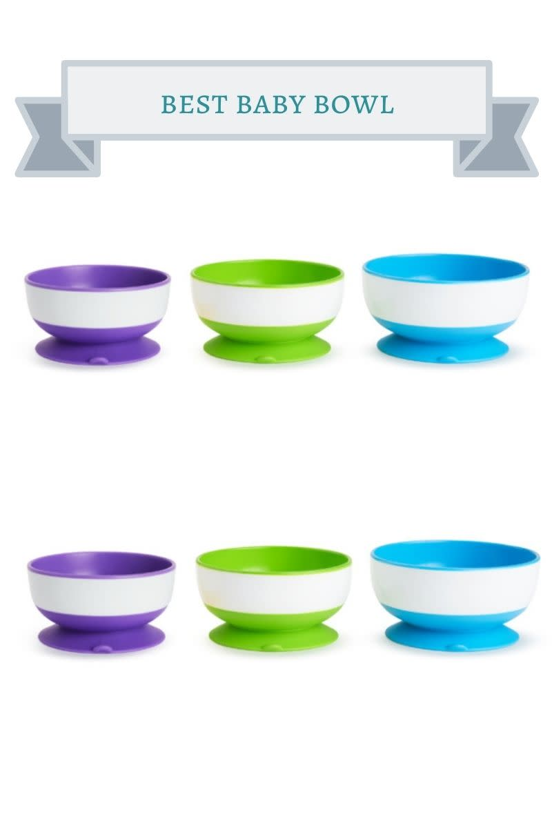 purple, green, blue and white baby bowls