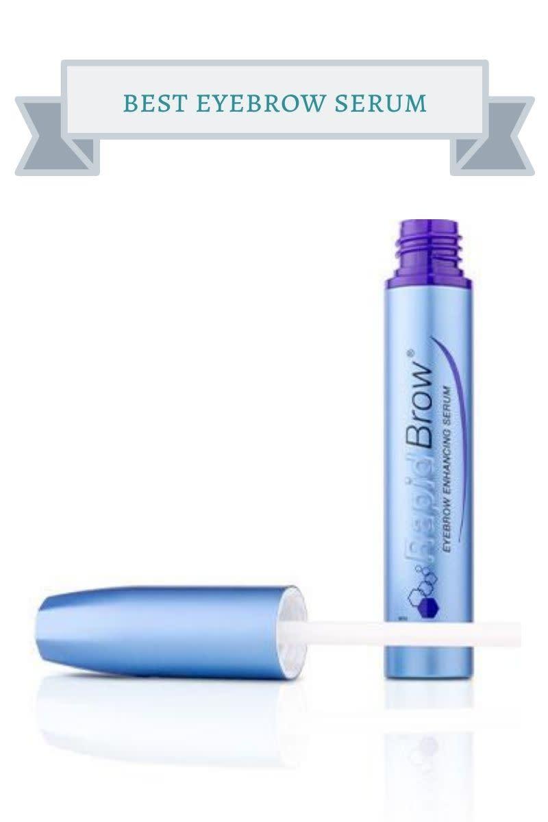blue bottle of rapidbrow eyebrow serum