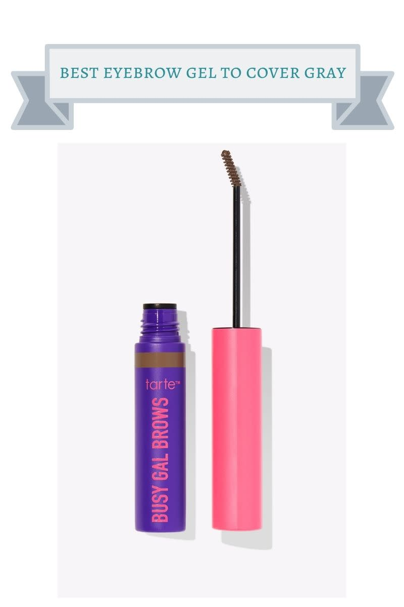 purple and pink bottle of tarte eyebrow gel
